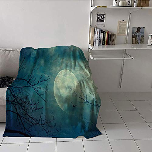 Khaki home Children's Blanket Casual Print Artwork (60 by 70 Inch,Horror House Decor,Halloween with Full Moon in Sky and Dead Tree Branches Evil Haunted Forest,Blue -