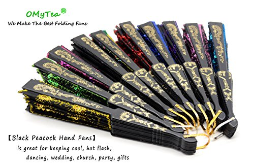 OMyTea Black Peacock Folding Hand Held Fans Bulk Pack Set for Women - Spanish/Chinese/Japanese Vintage Retro Fabric Fans for Wedding, Church, Party, Gifts (Mixed Colors, 10pcs) by OMyTea (Image #4)