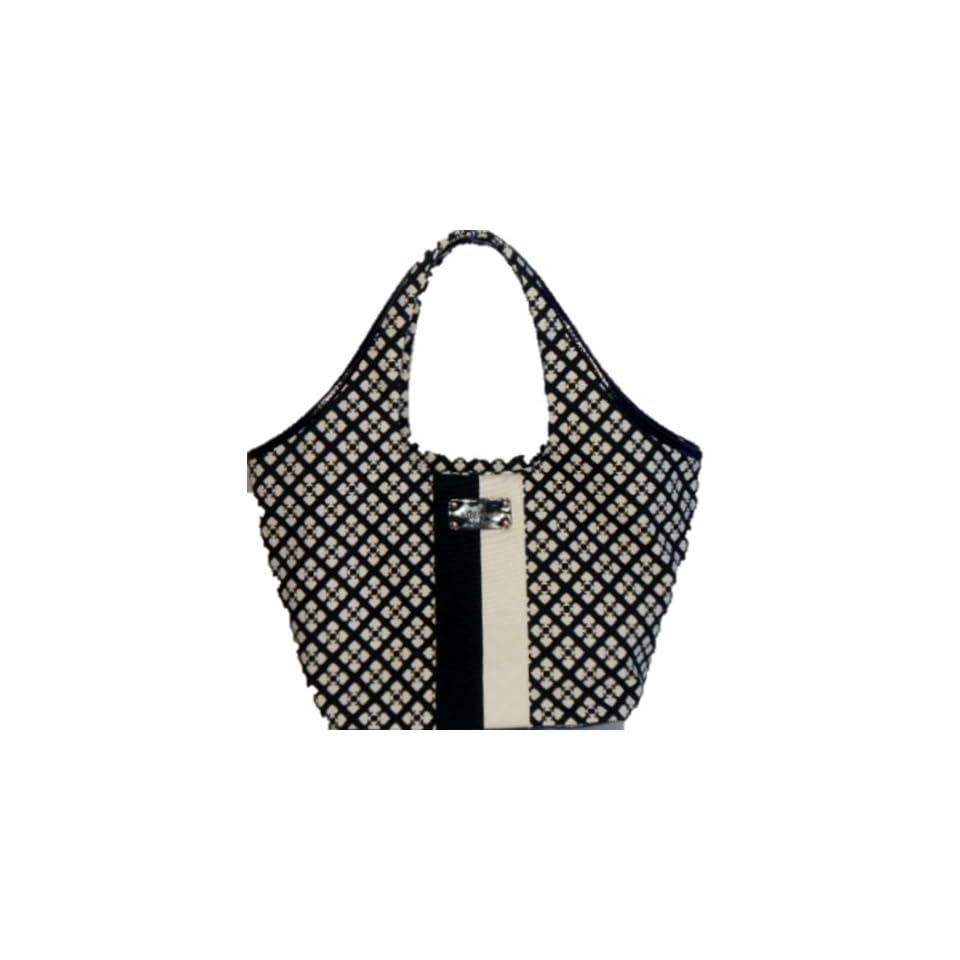Kate Spade Classic Spade Large Tate Shoulder Bag Purse Tote Black Cream