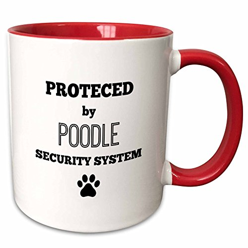 BrooklynMeme Pets - Protected by poodle security system - 11oz Two-Tone Red Mug (mug_221809_5) (Red Poodle)