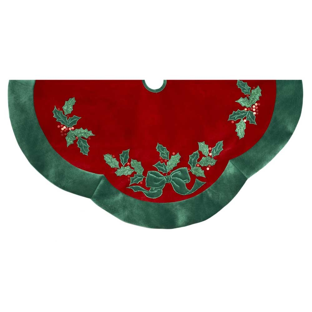 Kurt Adler 48'' Velvet Red with Green Leaves Applique Treeskirt
