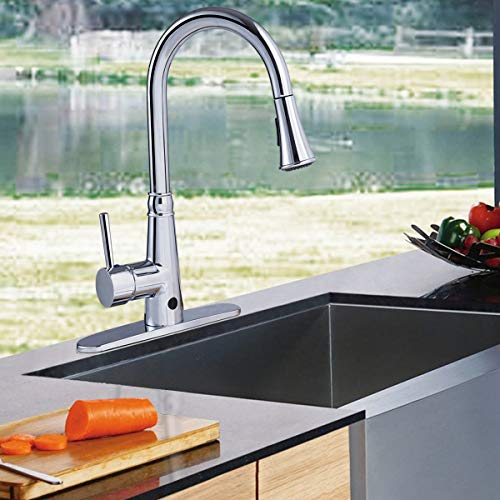 Giantex Motionsense Touchless Single-Handle Pull-Down High Arc Rotatable Kitchen Faucet w/Dual Sprayer Hot Cold Water Mixer (Chrome) by Giantex (Image #4)