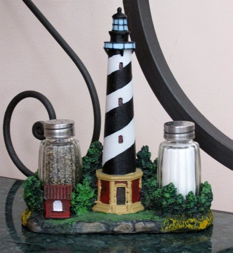 - Nautical Cape Hatteras Lighthouse Glass Salt and Pepper Shaker Set Figurine with Holder in Decorative Kitchen Decor Sculptures and Collectible Coastal Gifts