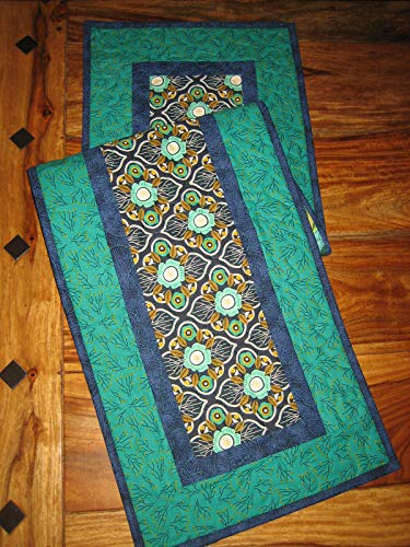 """Quilted Table Runner, Modern Blue Green Abstract Design, 13 x 47"""", Reversible from Tahoe Quilts"""