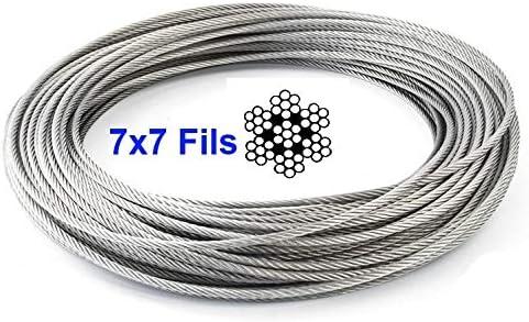 50 m 7 x 7 70 m Rollo de 100 m Longitud 10 m 100 m 20 m Corona de 20 m FP INOX Cable de 5 mm de Acero Inoxidable 316 Flexible 250 m Acero Inoxidable 316