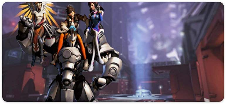 Extended Gaming Mouse Pad with Stitched Edges Overwatch Reinhardt Fanart Rectangular Computer Mousepad Desk Pad Mouse Mat Non-Slip Water-Resistant for Work Gaming Office Home 23.6x11.8 Inch