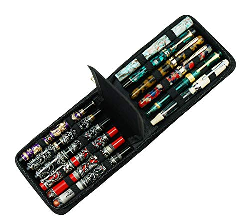 12 Fountain Pen Case PU Leather, Rollerball Pen Display Holder Bag, Pouch Large Capacity for Your Collection - Black