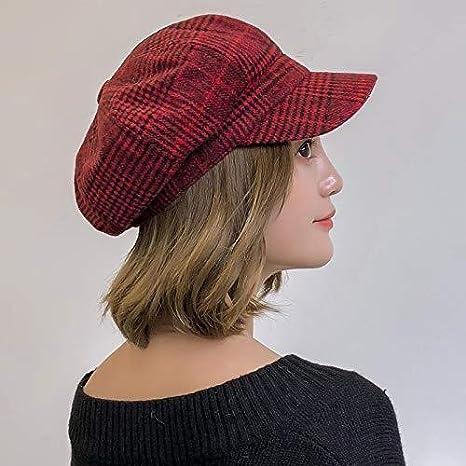 Winter Women Hat Vintage Beret Fashion Plaid Octagonal Cap Ladies Autumn Version of Wild Hat