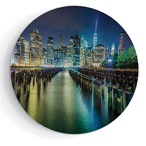 iPrint 8' Porcelain Plate New York Round Pier Pilings and Manhattan Skyline at Night Downtown Urban East River