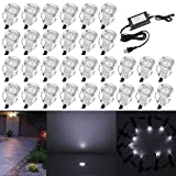 """QACA 0.7"""" Tiny Cool White LED Deck Light Kit, Stainless Steel Waterproof Recessed Wood Decking Stairs Garden Yard Patio Decor Lamp Low Voltage Outdoor LED Lighting, Pack of 30"""