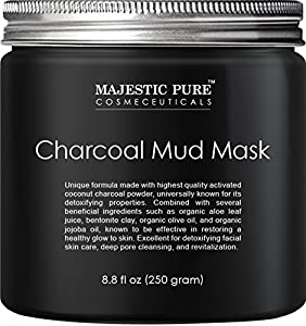 Majestic Pure Activated Charcoal Mask, 8.8 fl. Oz., - Clear Complexion Facial Mask for Blackhead, Shrinking Pores, Fighting Acne, Toning Skin, & Removing Impurities