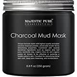 Majestic Pure Activated Charcoal Mask,Clear Complexion Facial Mud Mask for Blackhead, Shrinking Pores, Fighting Acne, Toning Skin, & Removing Impurities - 8.8 fl. Oz