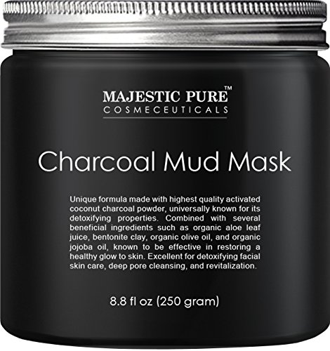 Majestic Pure Activated Charcoal Mud Mask,Clear Complexion Facial Mask for Blackhead, Shrinking Pores, Fighting Acne, Toning Skin, & Removing Impurities - 8.8 fl. Oz