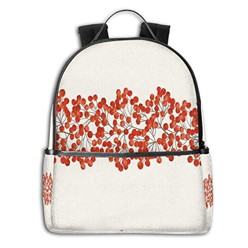 (College Backpacks for Women Girls,Border With Wild Red Mountain Ashes On Twigs Hand Painted Natural Artwork Print,Casual Hiking Travel Daypack)