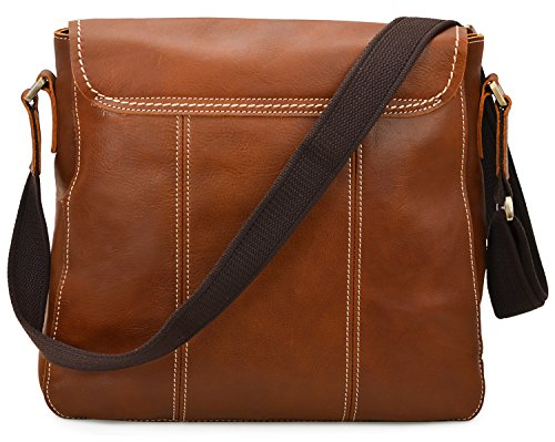 ALTOSY 15 Inch Genuine Leather Messenger Bag Satchel Bag for Office Work College School Business 8069 (light brown) by ALTOSY (Image #4)