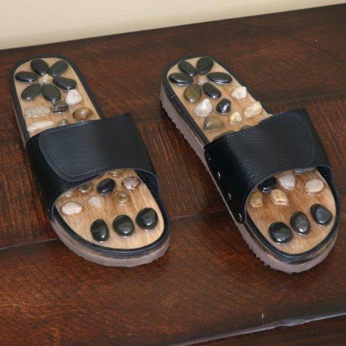 Deluxe Comfort Womens Natural Gem Stone Reflexology Sandals, Size 7 - Stunning Gem Stone And Bamboo - Memory Foam Sole - Stimulating & Detoxifying Massage - Foot Massager Sandals, Black