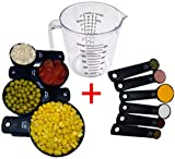 TWINS' Measuring Cups and Measuring Spoons Set with 1 Clear Plastic Measuring Cup 6 measuring spoons and 4 measuring cups,11 pieces Measuring Cup Set Essential Kitchen Utensils for Bakery and Cooking