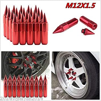 FidgetGear - Juego de 20 Tuercas de Aluminio con Pinchos Rojos de 60 mm para afinador de Ruedas/Llantas M12 x 1,5 JDM: Amazon.es: Coche y moto