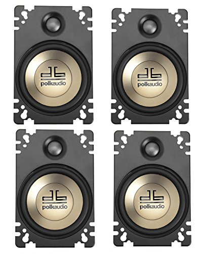 4-Pack Polk Audio DB461P 4'' x 6'' Plate-Style Design Coaxial Car Speakers w Butyl Rubber Surround
