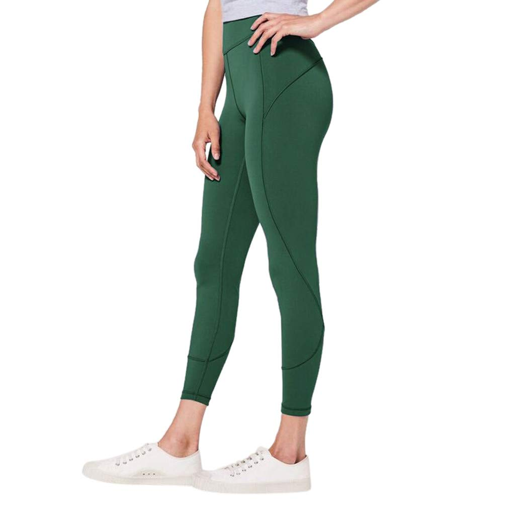 Hue Capri Leggings for Women, Fitness Leggings for Women High Waist Grey,Women's High Waist Solid Yoga Pants Workout Running Sports Leggings Pants