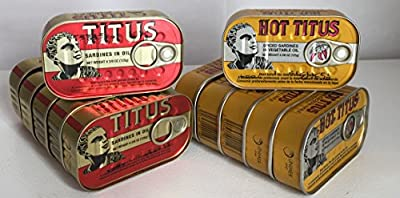 Titus Sardines in Vegetable Oil, Regular and Spicy, 4.375 Ounce Tin (Pack of 12) from Univer-Co