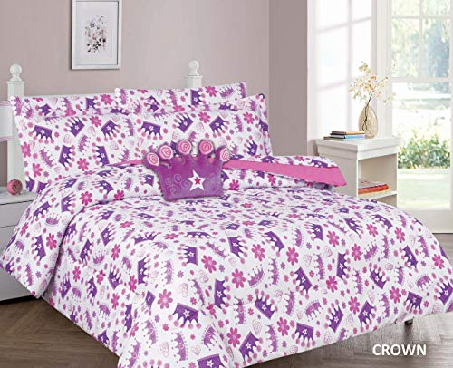 6 Piece Twin Size Girls Comforter Set Bed in Bag w/Sham, Sheet Set & Decorative Toy Pillow, Princess Crown Hearts Print Pink Purple White Girls Kids Comforter Bedding Set w/Sheets,Twin 6pc Crown
