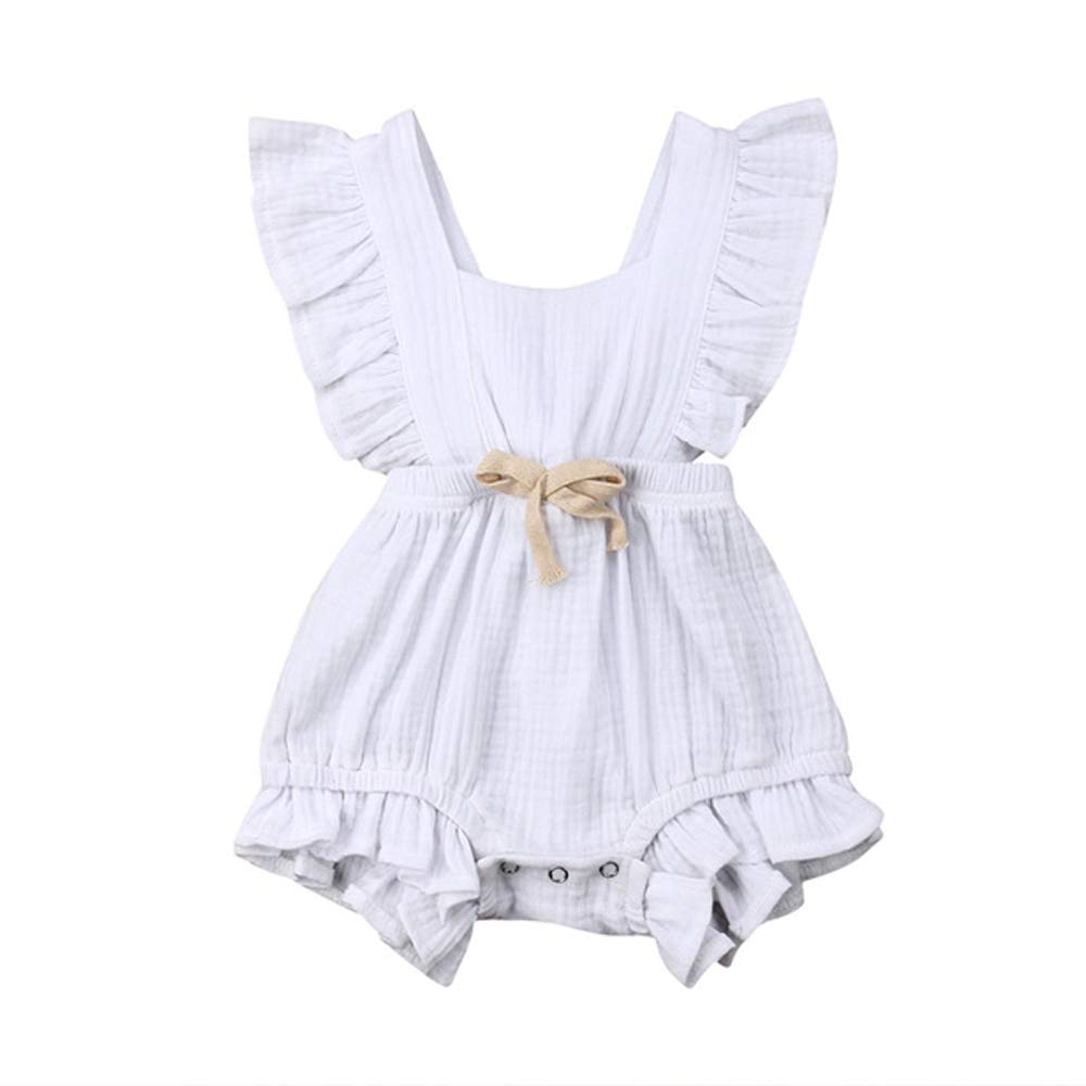 Urmagic Toddler Baby Girl Romper Infant Frilly Ruffled Sleeveless One-Piece Jumpsuit Overalls 0-3Years