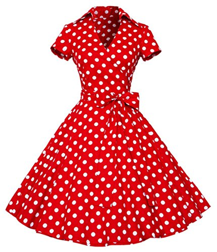 Ouhuang Vintage 40's 50's Style Rockabilly / Swing / Pin up Wrap Evening Party Dress OH1207RD-3XL