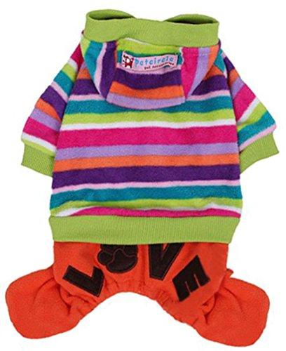 [Winter Pet Dog Jumpsuit Fleece Rainbow Stripe Hoodie Coat Clothes] (Hallowe En Costumes Ideas)