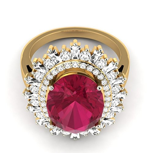 Or jaune 18K, 1.08carat Taille ronde Diamant (IJ | SI) Semi Pierre précieuse et diamant Bague