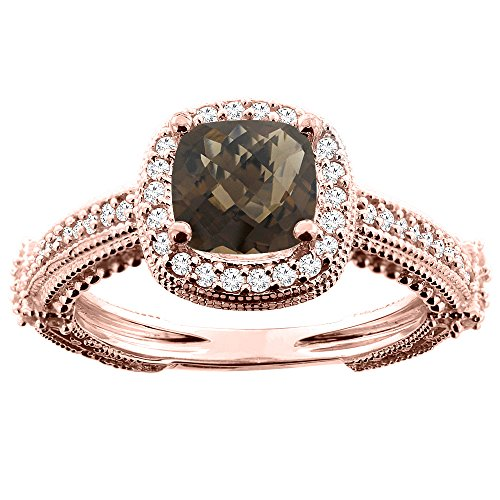10K Rose Gold Natural Smoky Topaz Ring Cushion 7x7mm Diamond Accent, size (Rose Gold Smoky Ring)