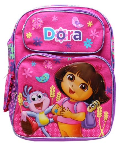 Full Size Pink Dora the Explorer and Boots Laughs Kids Backpack ()