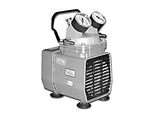 "Gast DOA-P704-AA Diaphragm Vacuum/Pressure Pump, Plastic, 115V, 60 Hz, 7-3/5"" Width x 10-1/10"" Height x 6-1/2"" Depth"