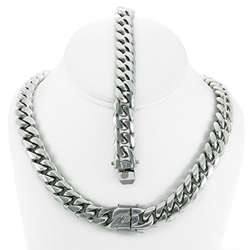 Solid Silver Finish Stainless Steel 14mm Thick Miami Cuban Link Chain Box Clasp Lock (Chain 30'' & Bracelet - Link Steel Cuban Stainless Chain