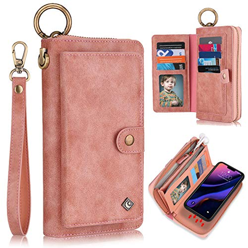 XRPow Wallet Case iPhone 11 Pro Max 6.5Inch [2 in 1] Magnetic Detachable Wallet Case [Vegan Leather] Zipper Clutch Folio Flip Card Solt [Wrist Strap] Purse Protection Back Cover - Rose Gold