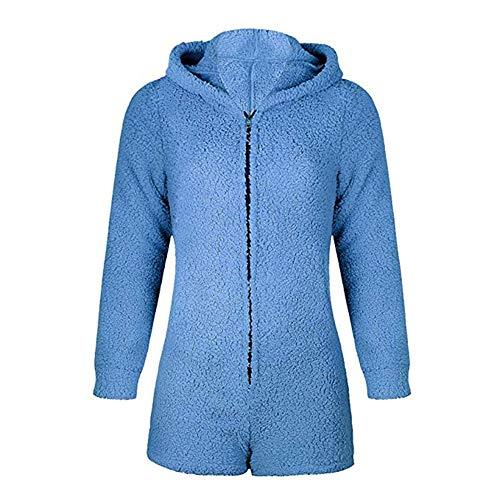 Okvpajdo Women Sherpa Fleece Pajama Suit Hooded Cute Bear Ears Long Sleeve Zipper Short Jumpsuit Sleepwear Romper Blue]()