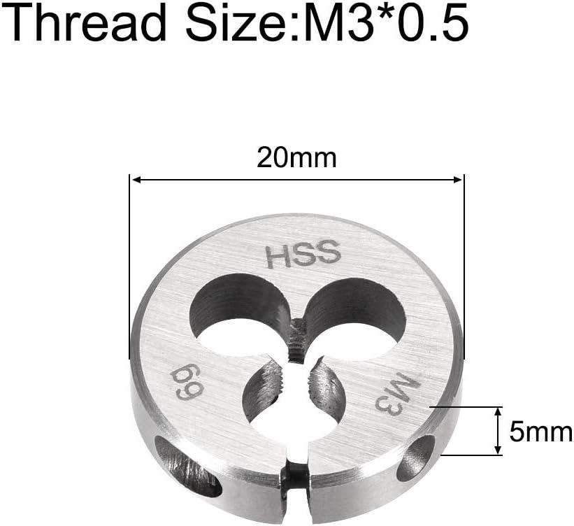 uxcell M3 M3x0.5 Pitch Metric Right Hand Adjustable Round Die HSS High Speed Steel