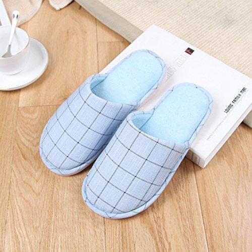 Blu Giappone inverno di pantofole autunno e gli DogHaccd moda Baotou la home cotone pantofole il di In amanti anti cielo1 pantofole griglia slip e indoor Rok di in FqSddUxX