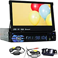Free Wireless Rearview Backup Camera + 1 Din GPS Navigation In Dash Car Stereo Headunit Deck 7 Inch Touchscreen Radio AM FM Bluetooth Steering Wheel Control Car Audio CD VCD VCD MP3 Player SD USB