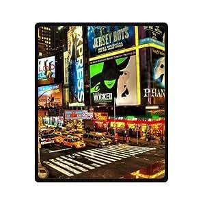 Crowded New York City Broadway Night Design Crowded New York City Broadway Night Design ew York City At Night Custom Fleece Blanket 50 x 60 (Medium)