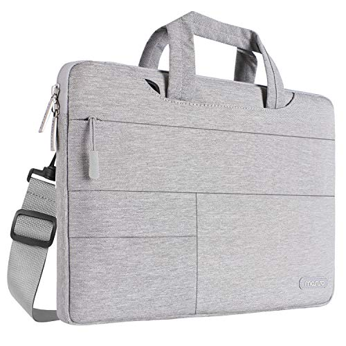 MOSISO Laptop Shoulder Bag Compatible 13-13.3 Inch MacBook Pro, MacBook Air, Notebook Computer, Polyester Multifunctional Carrying Briefcase Sleeve with Storage Organizer Accessory Pockets, Gray