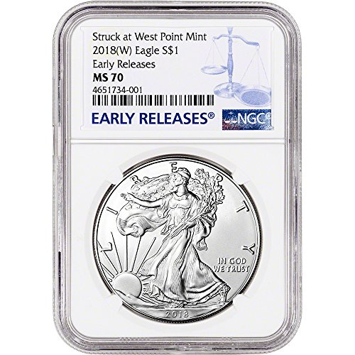 American Mint Coins - 2018 (W) American Silver Eagle (1 oz) Early Releases Large Label $1 MS70 NGC