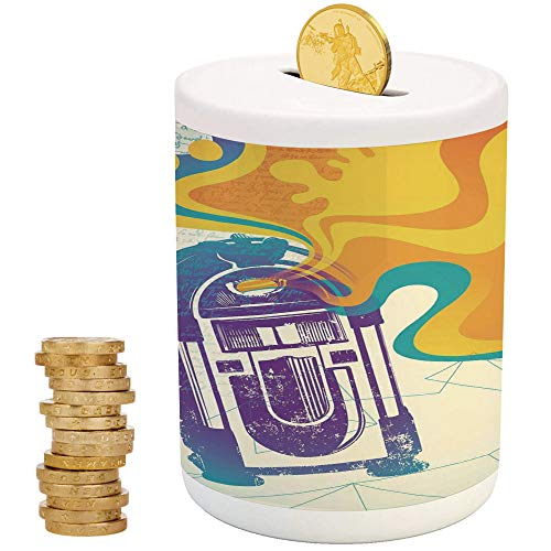 Jukebox,Ceramic Girls Bank,Printed Ceramic Coin Bank Money Box for Cash Saving,Retro Vintage Radio Music Box with Marigold Yellow Abstract Fog Like Image