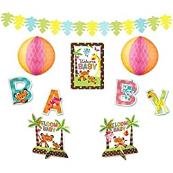 Amscan Adorable Baby Shower Party Jungle Animal Assorted Room Decorating