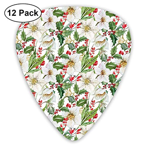 - Guitar Picks 12-Pack,Christmas Themed Floral Poinsettia Winter Inspirations Berries Leaf
