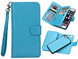iphone 5/5S/SE 2 in 1 Wallet Case,Hynice Folio Flip PU Leather Case Magnetic Detachable Slim Back Cover Card Holder Slot Wrist Strap wallet for iphone 5/5S/SE. (blue)