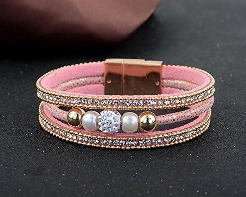 HuaQingPiJu-JP ファッション多層ベルベットパールラインストーン磁気バックルブレスレットバングル(ピンク)