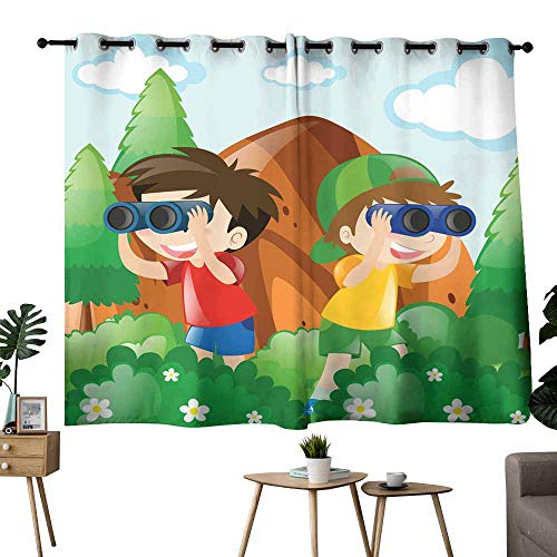 Mannwarehouse Noise Reduction Curtain Two Boys in Bush for Bird Watching for Living, Dining, Bedroom (Pair) 72