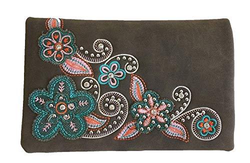 American Bling Montana West 4-Way Clutch Wristlet Crossbody Purse Suede Feel Flowers Coffee