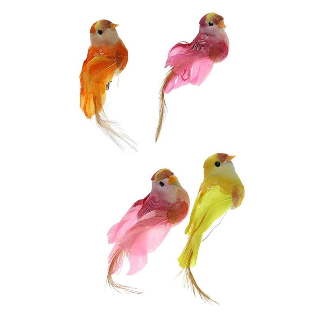 4x Vivid Little Bird Ornament Imitation Animal Outdoor Tree Decor with Clips
